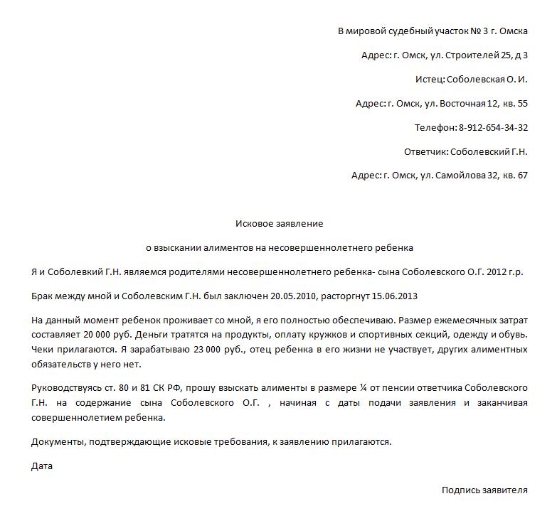Исковое заявление о взыскании алиментов на несовершеннолетнего ребенка